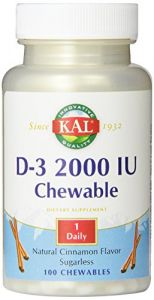Kal D-3 2000 Iu Sugarless Chewable Vitamin Tablets, Cinnamon, 100 Count