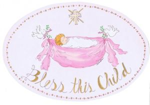 The Kids Room Bless This Child With Cross Girls Oval Wall Plaque