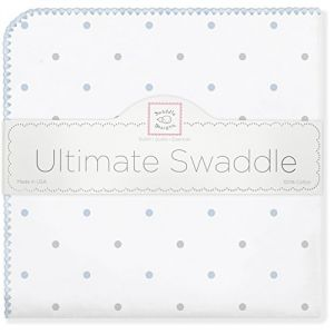 Swaddledesigns Ultimate Receiving Blanket, Sterling Little Dots, Pastel Blue