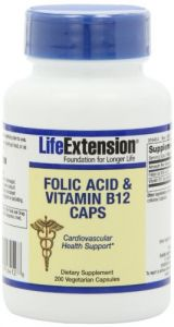 Life Extension Folic Acid + B12 Capsules, 200-count