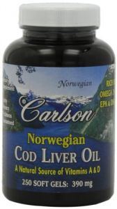 Carlson Labs Cod Liver Oil, 390 Mg , 250 Softgels