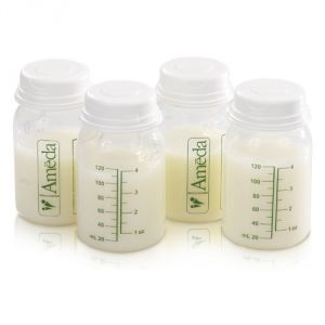 Ameda 4 Pack Breast Milk Storage Bottles, 4 Ounce
