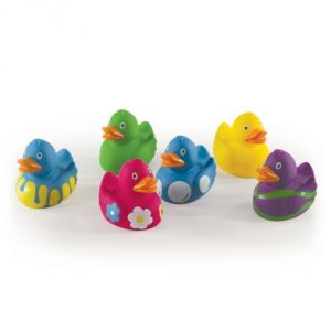 Luvable Friends Printed Rubber Ducks, Pink, 6-count