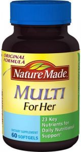Nature Made Multi For Her With Iron & Calcium, Liquid Softgels, 60 Ct.
