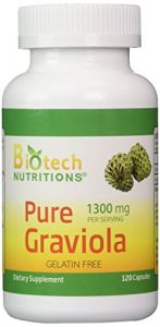 Biotech Nutritions 100% Pure Graviola 1300mg Per Servings 120 Capsules Per Bottle