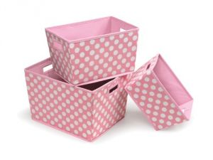 Badger Basket 3 Pack Polka Dot Nesting Trapezoid Shape Folding Baskets, Pink
