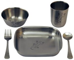 Untangled Living Anyware Collection Childrens Stainless Steel Dish Set, 5 Pieces, Gecko