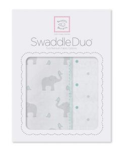 Swaddledesigns Swaddleduo Elephant & Chickies Duo, Seacrystal, 2 Count