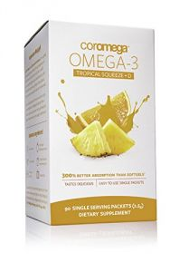 Coromega Omega3 Squeeze With Vitamin D3, Tropical Orange, 90 Count