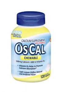 Os-cal Chewable Calcium 500 + 600iu D3, Lemon Chiffon Flavor, 120 Chewable Tablets