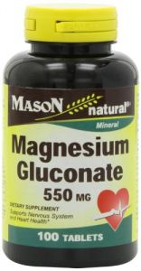 Mason Vitamins Magnesium Glucunate 550mg Tablets, 100-count Bottles (pack Of 3)