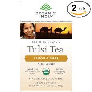 Organic India Tulsi Tea,lemon Ginger, 18 Count (pack Of 2)