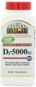 21st Century D 5000 Iu Tablets, 360 Count