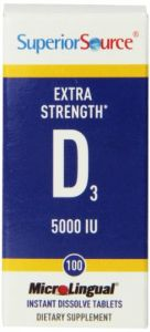 Superior Source Extra Strength Vitamin D 5,000 Iu Tablet, 100 Count