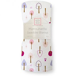 Swaddledesigns Marquisette Swaddling Blanket, Cute & Calm, Very Berry