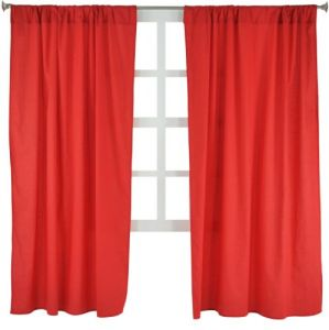 Tadpoles Basics Set Of 2 Curtain Panels, Solid Red, 63