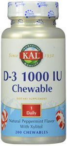 Kal D-3 1000 Iu Chewable Tablets, Peppermint, 200 Count