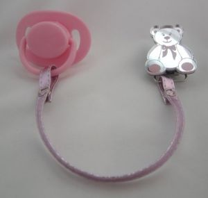 Pink Teddy Bear Mirror Pacifier Clip With Faux Leather Strap