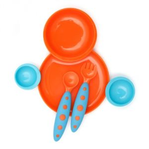 Boon Groovy + Modware Interlocking Plate And Bowl Set With Utensils,blue-orange