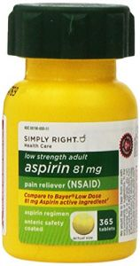 Simply Right Low Dose Strength Adult Aspirin 81 Mg Pain Reliever 730 Tablets 2 Bottles 2 X 365 (compare To Bayer) Nsaid
