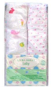 Laura Ashley Baby Owlphabet Infant Swaddling Blankets 40 Inches X 40, 2 Pack