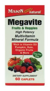 Mason Vitamins Megavite Fruits And Veggies Mineral Formula, 60 Count