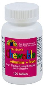 Childrens Chewable Multi Vitamins With Iron - Fruit Flavored Animal Shaped- 100 Tablets