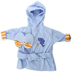 Luvable Friends Sea Character Woven Terry Baby Bath Robe With Slippers, Blue