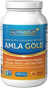 Organic Amla Gold, 500 Mg, 90 Vegetarian Capsules (amalaki Indian Gooseberry)