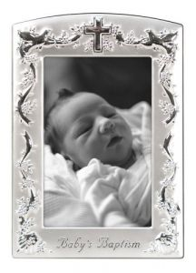 Malden Baby Baptism Two-tone Picture Frame, Pewter