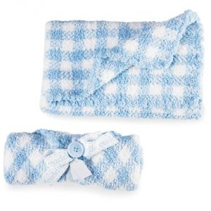 Mud Pie Baby Gingham Chenille Blanket, Blue-white