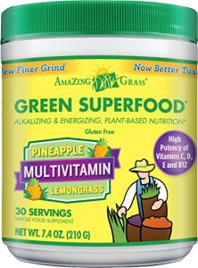 Amazing Grass Green Superfood Multivitamin Pineapple Lemongrass, 30 Servings, 7.4 Ounces