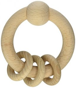Green Sprouts Natural Wooden Ring Rattle, Natural
