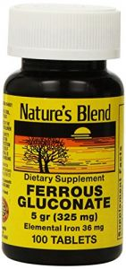 Ferrous Gluconate 100 Tabs By Natures Blend 5 Grams (325 Mg)