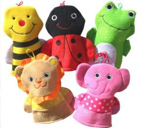 Set Of 5 ~ Washcloth Hand Puppet Terrycloth Washmitt
