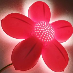 Childrens Pink Flower Wall Lamp, Bulb Is Included