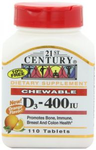 21st Century D 400 Iu Orange Chewable Tablets, 110 Count (pack Of 3)