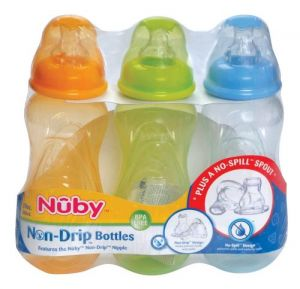 Nuby 3 Pack Tinted Bottle, 10 Ounce, Colors May Vary