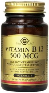 Solgar Vitamin B12 Tablets, 500 Mcg, 100 Count