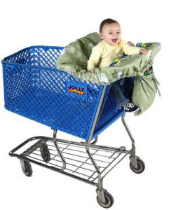 Jolly Jumper Deluxe Sani-shopper Shopping Cart Cover With Safety Belt- Fits Most Resturant High Chairs - Sage Lambs