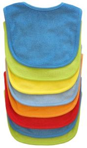 Neat Solutions 8 Pack Multi-color Solid Knit Terry Feeder Bib, Boy