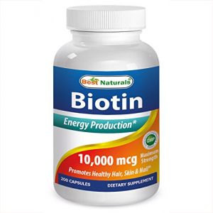 Biotin By Best Naturals For Hair Growth, Skin, And Nails -- 3rd Party Tested & Certified (10000 Mcg, 200 Caps)