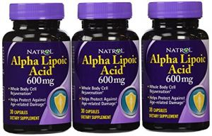 Natrol Alpha Lipoic Acid 600mg Capsules, 30-count (pack Of 3)