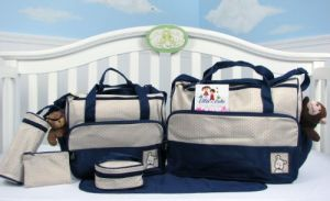 Soho Diaper Bag With Changing Pad 8 Pieces Set Dark Navy