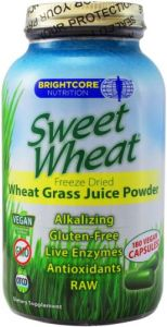 Sweet Wheat- Organic Wheat Grass Juice Powder, 180 Capsules. Raw, Non Gmo, Gluten Free, Vegan. By Brightcore Nutrition