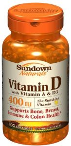 Sundown Naturals Vitamin D 400 Iu Softgels, 2 Pk