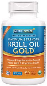 Maximum Strength Krill Oil Supplement - Krill Oil Omega-3 Gold, 750 Mg, 60 Veggie Capsules - Ikos 5-star Certified, Hexane-free,