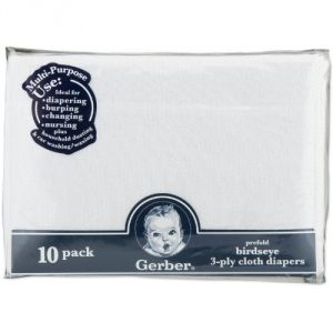 Gerber Baby Care (Misc) - Gerber Birdseye 10 Count 3-Ply Prefold Cloth Diapers, White