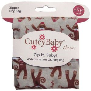 Cuteybaby Zip It Baby Zipper Dry Bag, Sock Monkeys, Small