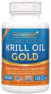 #1 Krill Oil Omega-3 Supplement - Krill Gold, 500mg, 120 Veggie Capsules - Ikos 5-star Certified, Multi-patented